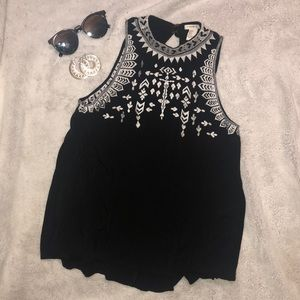 F21 High neck embroidered tank